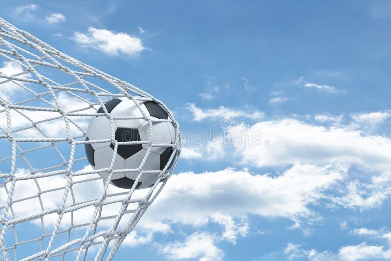 3d rendering futbolowy balowy niezdolny drzeć sieć od bram z chmurnym niebem w tle royalty ilustracja