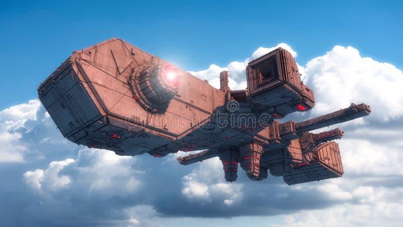 Futuristic alien Spaceship vector illustration