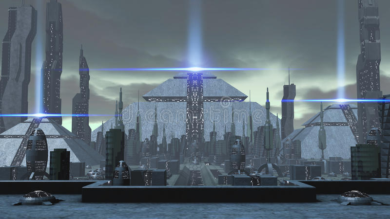 3D rendering of a futuristic ancient city stock illustration