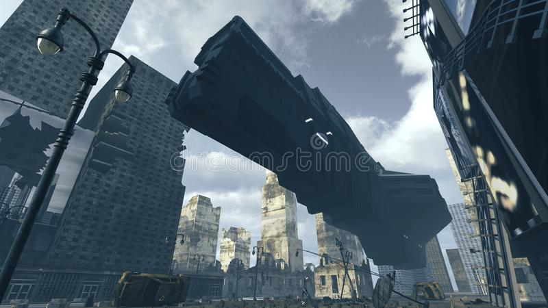 Futuristic cargo spaceship landing in apocalyptic city. 3D rendering. 3D rendering of a futuristic cargo spaceship landing on an abandoned surface. An urban royalty free illustration