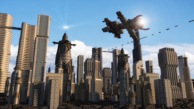 Futuristic city and spaceships. 3d rendering. Futuristic city and spaceships vector illustration