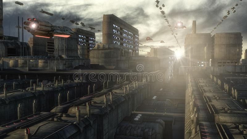Futuristic city and spaceships. 3d rendering. Futuristic city and spaceships royalty free illustration