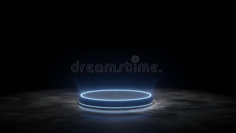 3D Rendering of futuristic podium. Blank pedestal for product display with glowing ray light and reflection on dark granite floor vector illustration