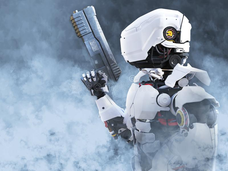 3D rendering of a futuristic robot hero cop holding gun. 3D rendering of a futuristic robot police or soldier holding a gun surrounded by smoke stock illustration