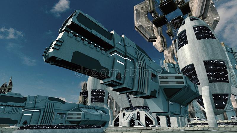 Futuristic scifi city with spaceship landing. 3D rendering vector illustration