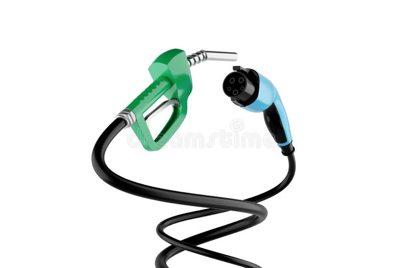 3D rendering Gas Nozzle VS Electric Vehicle Charging Plug vector illustration