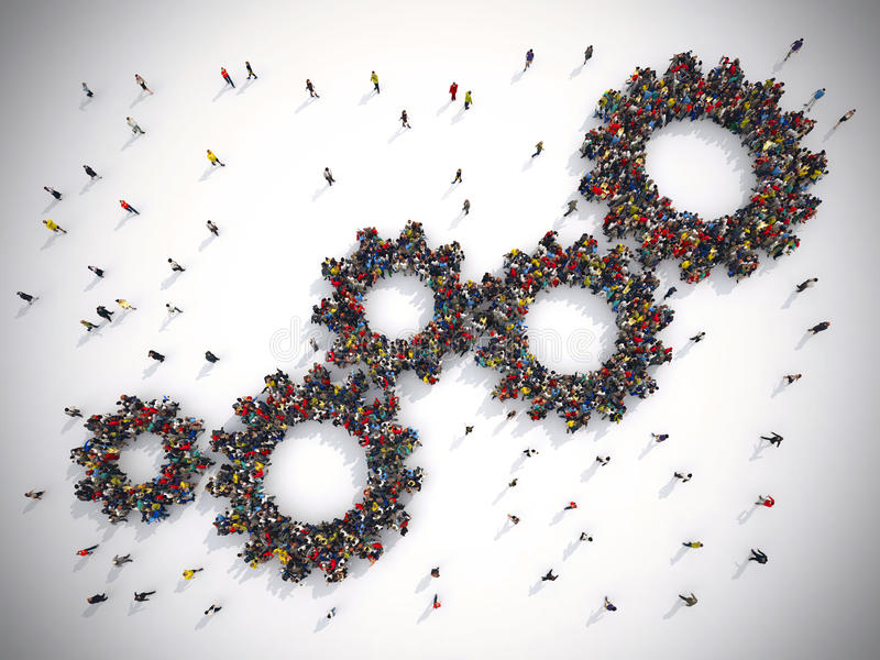 3D Rendering gear concept teamwork system. 3D Rendering of people united form two gears royalty free illustration