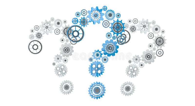 3D rendering gear icons question mark flying stock illustration