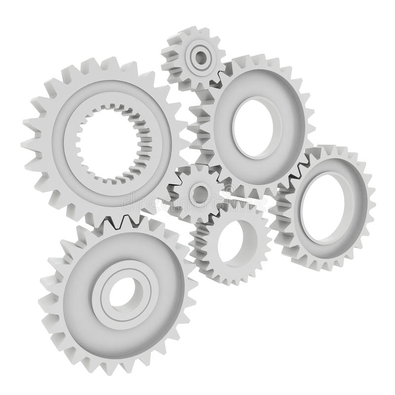 3d rendering Gears Background. 3d rendering Gears on white Background vector illustration
