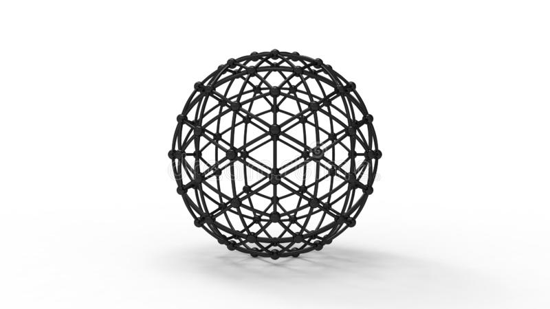 3d rendering of a geodesic phere wireframe isolated in white background. 3d rendering of a geodesic phere wireframe isolated in white studio background vector illustration