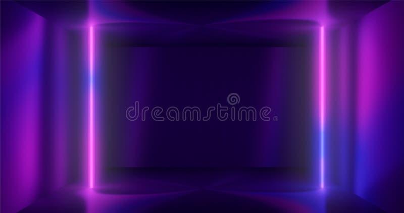 3d rendering. Geometric figure in neon light against a dark tunnel. Laser line glow. Neon backgrounds vector illustration