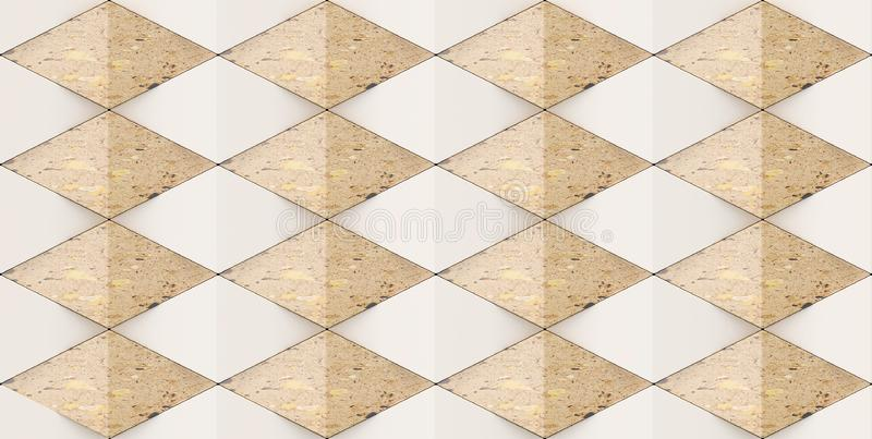 3D rendering of geometric rhombus shapes, Material brown marble for your project or interior design decorative tile & elements royalty free illustration