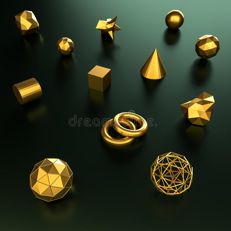 3d rendering geometry gold color background and texture. stock photography