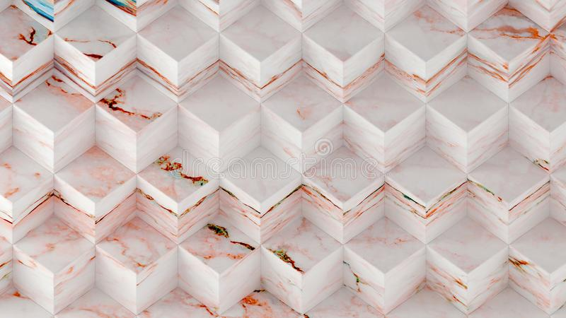 3D rendering geometryczny sześciokąt boksuje panel, Materialnego bielu marmur dla twój projekta lub wewnętrznego projekta dekorac royalty ilustracja