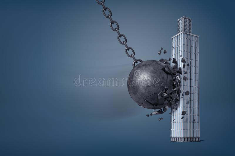 3d rendering of giant iron wrecking ball breaks in pieces when it hits a business skyscraper. royalty free stock photography