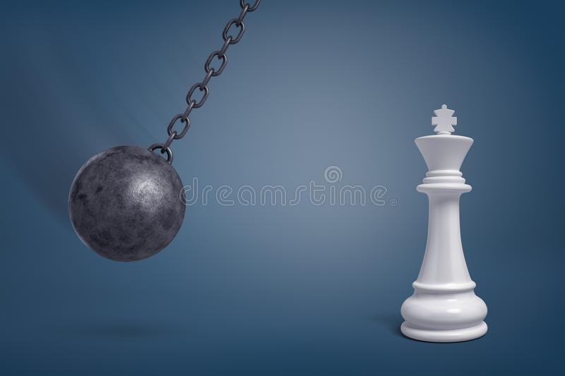 3d rendering of a giant wrecking ball swings in the direction of a large white chess king. stock illustration