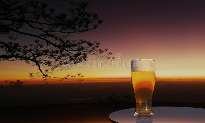 3D Rendering glass beer and mountain view background with sunset and mist on top hill. 3D Software Rendering glass beer and mountain view background with sunset stock photo