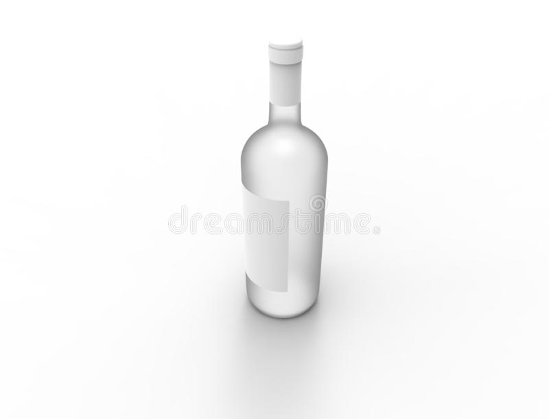 3D rendering of a glass bottle isolated on white background vector illustration