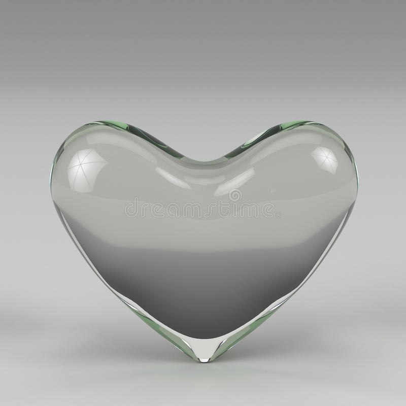 3d rendering glass heart. On grey background royalty free illustration