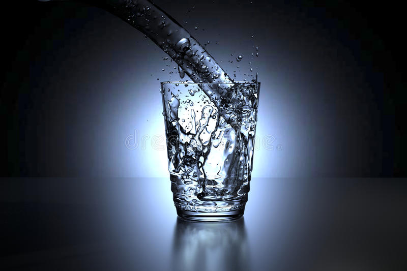 3D rendering of a glass of water spill royalty free illustration