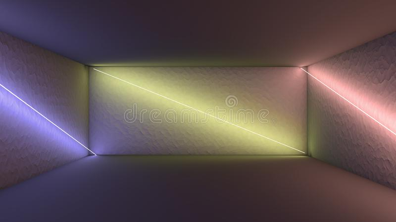 3d rendering, glowing lines, neon lights, abstract psychedelic background, ultraviolet, pink blue vibrant colors royalty free illustration
