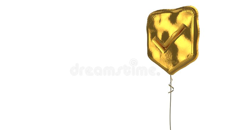 Gold balloon symbol of been here marker on white background. 3d rendering of gold balloon shaped as symbol of been here marker with ok sign isolated on white royalty free illustration