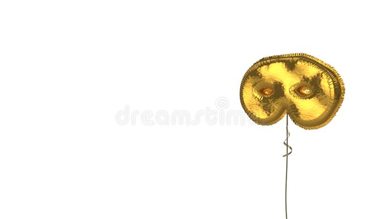 Gold balloon symbol of mask on white background. 3d rendering of gold balloon shaped as symbol of carnival mask isolated on white background with ribbon vector illustration