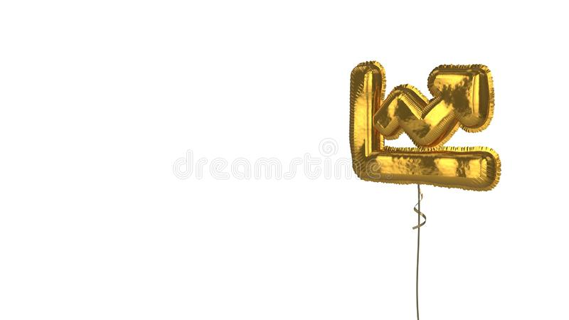 Gold balloon symbol of chart line on white background. 3d rendering of gold balloon shaped as symbol of chart with arrow isolated on white background with ribbon royalty free illustration