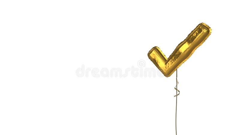 Gold balloon symbol of verification mark on white background. 3d rendering of gold balloon shaped as symbol of check sign isolated on white background with vector illustration