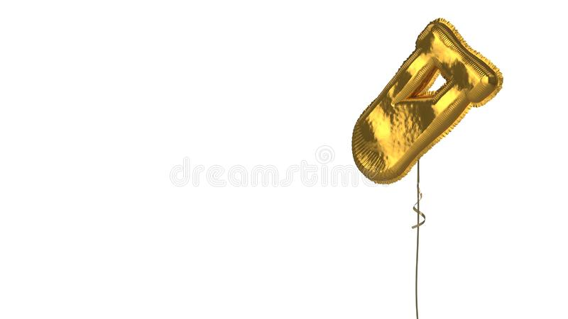 Gold balloon symbol of vial on white background. 3d rendering of gold balloon shaped as symbol of chemical tube isolated on white background with ribbon stock illustration