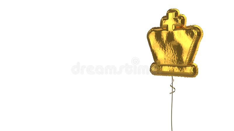 Gold balloon symbol of chess king on white background. 3d rendering of gold balloon shaped as symbol of chess king figure isolated on white background with stock illustration