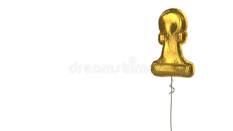 Gold balloon symbol of chess pawn on white background. 3d rendering of gold balloon shaped as symbol of chess pawn figure isolated on white background with vector illustration