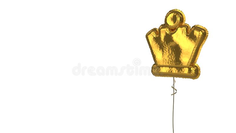 Gold balloon symbol of chess queen on white background. 3d rendering of gold balloon shaped as symbol of chess queen figure isolated on white background with royalty free illustration