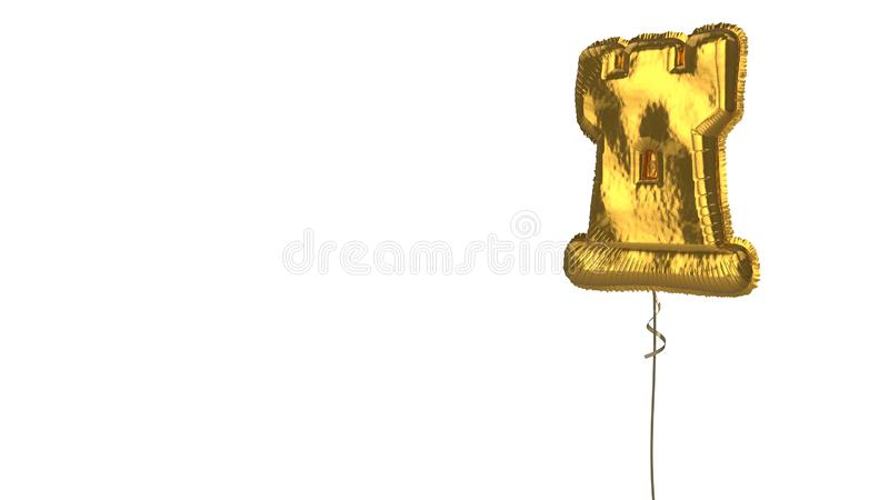 Gold balloon symbol of chess rook on white background. 3d rendering of gold balloon shaped as symbol of chess rook figure isolated on white background with vector illustration
