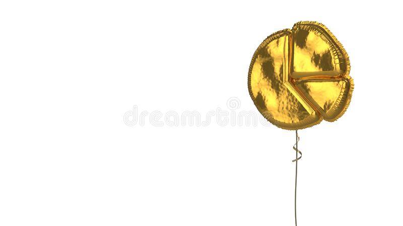 Gold balloon symbol of chart pie on white background. 3d rendering of gold balloon shaped as symbol of circular chart pie divided into triangular areas isolated stock illustration