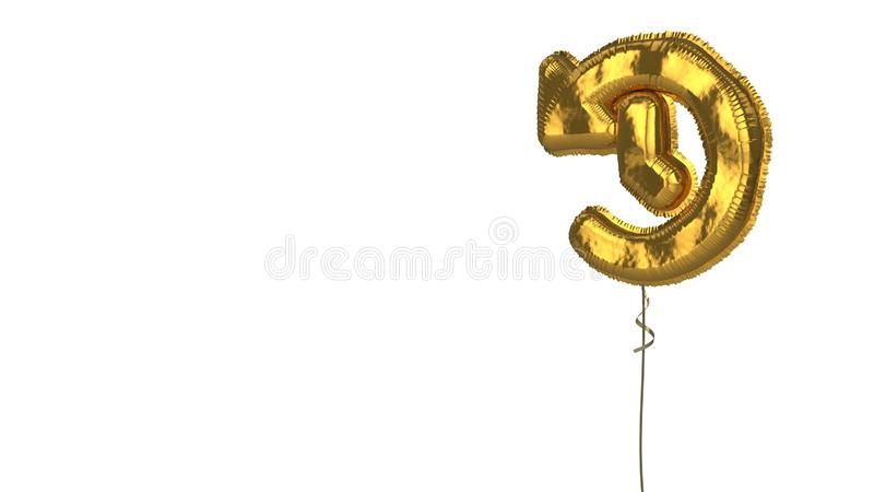 Gold balloon symbol of history on white background. 3d rendering of gold balloon shaped as symbol of clock with counterclockwise arrow isolated on white stock illustration