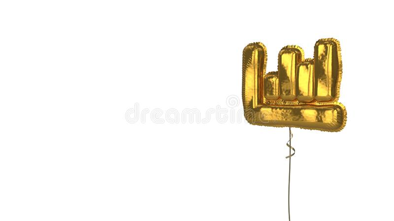 Gold balloon symbol of chart bar on white background. 3d rendering of gold balloon shaped as symbol of column chart  isolated on white background with ribbon royalty free illustration
