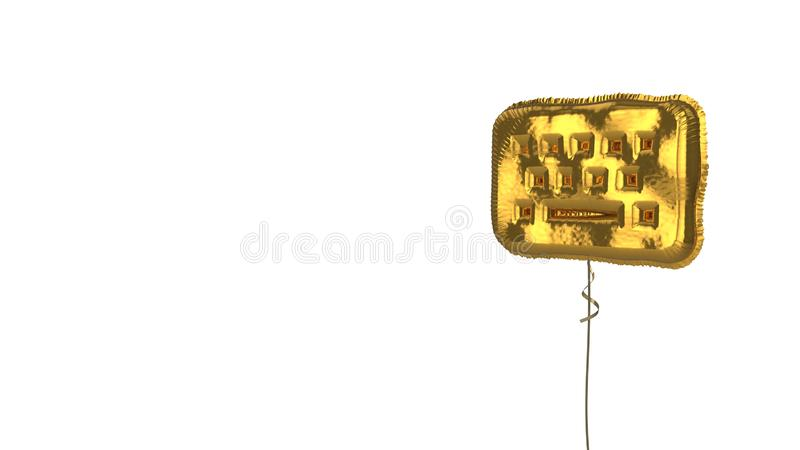 Gold balloon symbol of keyboard on white background. 3d rendering of gold balloon shaped as symbol of computer keyboard isolated on white background with ribbon vector illustration