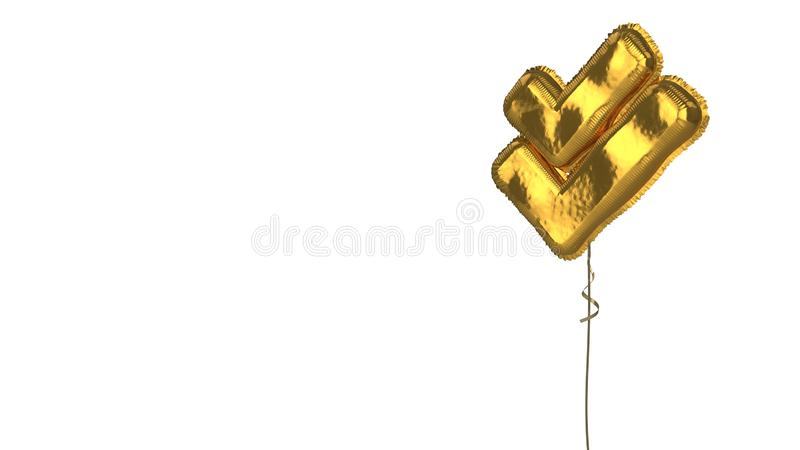 Gold balloon symbol of check double on white background. 3d rendering of gold balloon shaped as symbol of double check mark isolated on white background with vector illustration