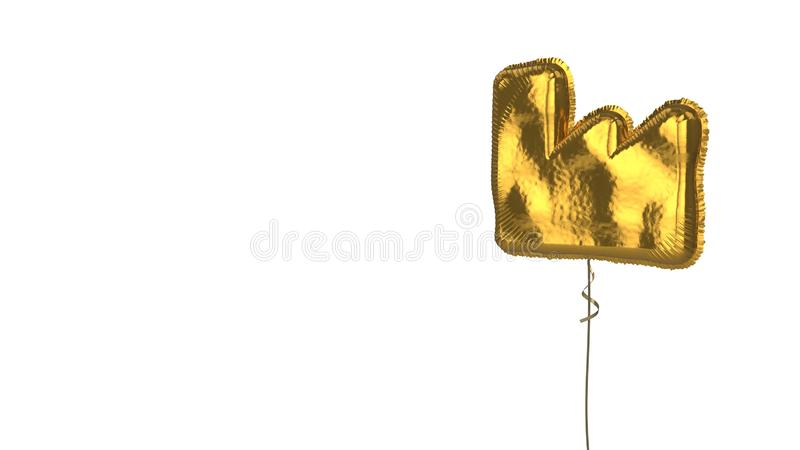 Gold balloon symbol of industry on white background. 3d rendering of gold balloon shaped as symbol of factory building isolated on white background with ribbon stock illustration