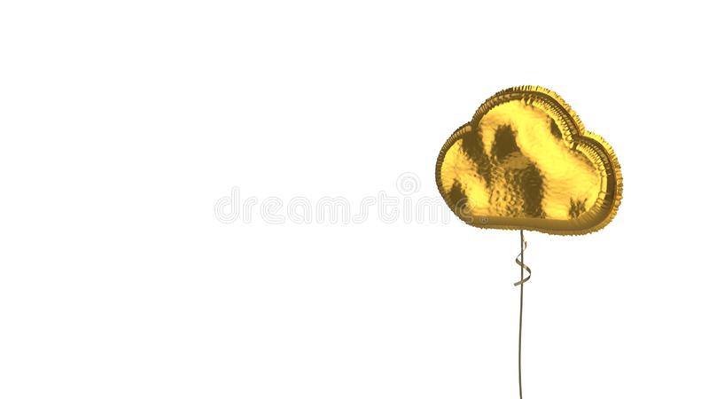 gold balloon symbol of cloud on white background stock illustration