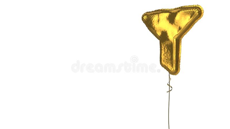 Gold balloon symbol of filter on white background. 3d rendering of gold balloon shaped as symbol of filtering funnel isolated on white background with ribbon royalty free illustration