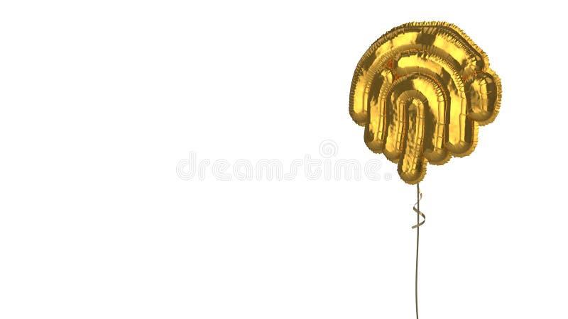 gold balloon symbol of fingerprint on white background royalty free illustration