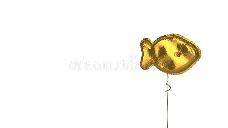 Gold balloon symbol of fish on white background. 3d rendering of gold balloon shaped as symbol of fish from profile isolated on white background with ribbon royalty free illustration