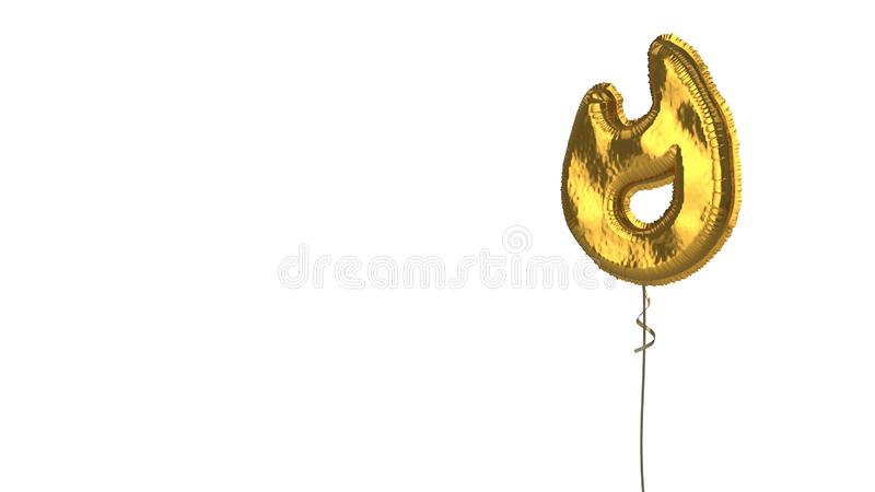 Gold balloon symbol of interface on white background. 3d rendering of gold balloon shaped as symbol of flame isolated on white background with ribbon vector illustration