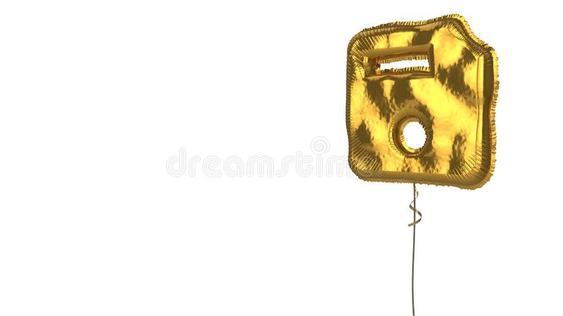 Gold balloon symbol of interface on white background. 3d rendering of gold balloon shaped as symbol of floppy disk isolated on white background with ribbon vector illustration