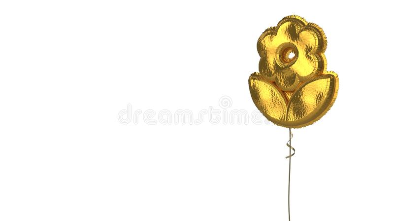 Gold balloon symbol of flower on white background. 3d rendering of gold balloon shaped as symbol of flower with leaves isolated on white background with ribbon royalty free illustration
