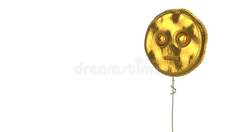 Gold balloon symbol of flushed on white background. 3d rendering of gold balloon shaped as symbol of flushed emoticon isolated on white background with ribbon vector illustration