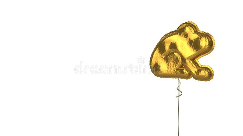 Gold balloon symbol of frog on white background. 3d rendering of gold balloon shaped as symbol of frog from profile isolated on white background with ribbon stock illustration