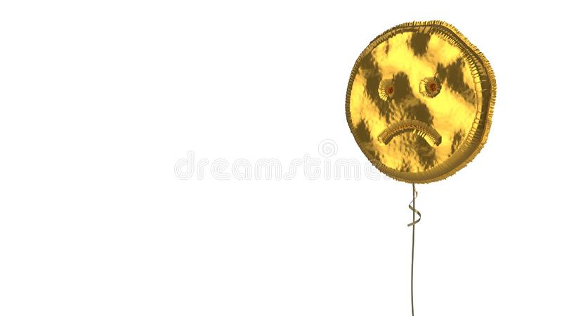 Gold balloon symbol of frown on white background. 3d rendering of gold balloon shaped as symbol of frown emoticon isolated on white background with ribbon royalty free illustration
